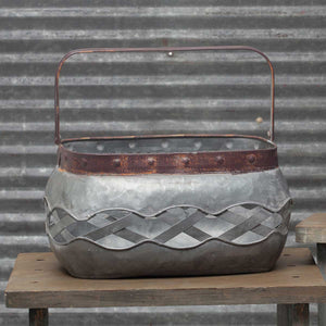 Metal Rectangular basket with lattice detail- Large