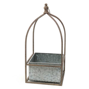 METAL PORTICO SQUARE HANGING PLANTER