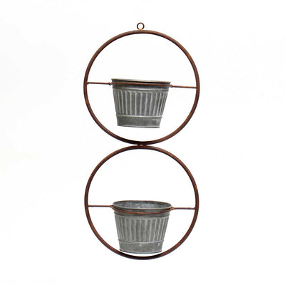 IN BLOOM METAL HANGING DOUBLE CIRCLE PLANTER