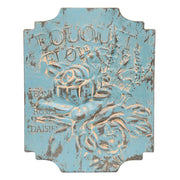 "ANTIQUE BLUE METAL ""BOUQUET"" WALL SIGN"