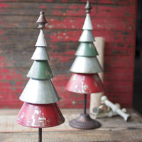 GALVANIZED RED AND GREEN METAL TREES