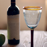 wine glasses with amber rim