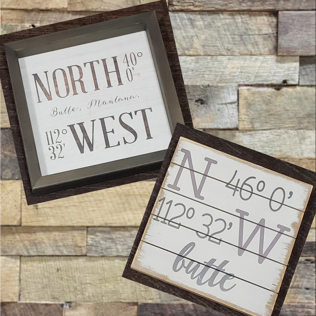 Butte Coordinates wood sign