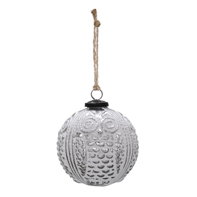 SILVER OWL ORNAMENT WITH SANDSTONE FINISH