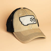 Crossed Axes Trucker Khaki/ Black Hat