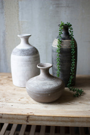 black and white clay vessel
