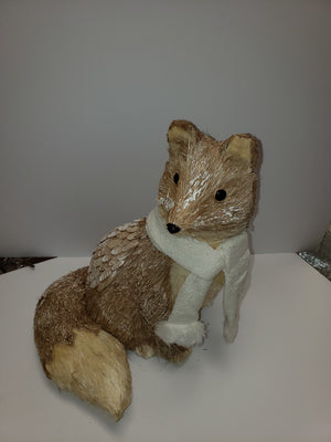 "Fox Sitting 16"" W/Scarf"