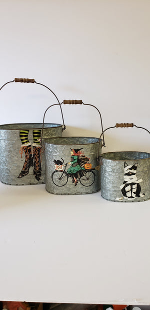 Set of 3 Halloween Tin Buckets