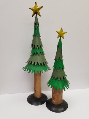 Set of two large painted metal christmas trees wood truck