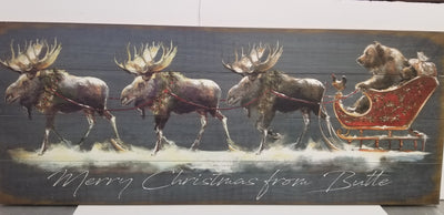 Santa Grizzly sleigh with Moose sign- 17x44