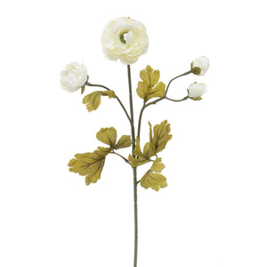 "Sea Glass Ranunculus X4 2""x22""- White"