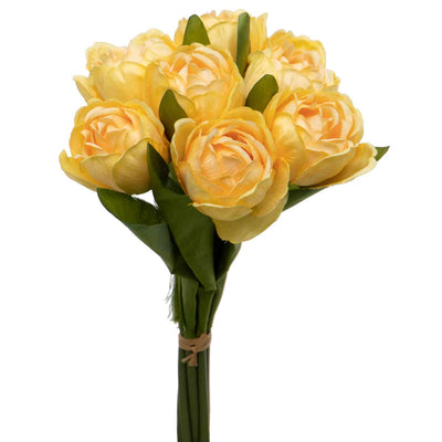 TULIP BUNDLE BOUQUET OF 7 TIED WITH RAFFIA  BUTTER. (YELLOW)