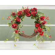 RED GERANIUM AND TWIG WREATH 21""