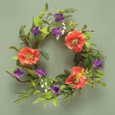 ORANGE/PURPLE POPPY MIXED WREATH