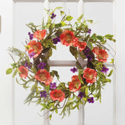 ORANGE/PURPLE POPPY MIXED WREATH 22""