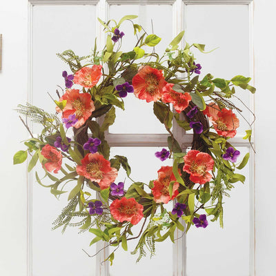ORANGE/PURPLE POPPY MIXED WREATH 22