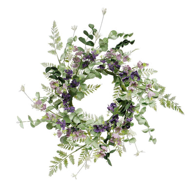 COTTAGE PURPLE BLOSSOM WREATH SMALL 18
