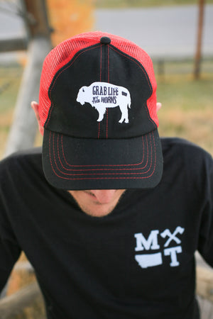 Grab Life By the Horns Trucker Hat Red and Black