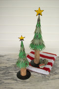 PAINTED METAL CHRISTMAS TREES WITH WOOD TRUNK