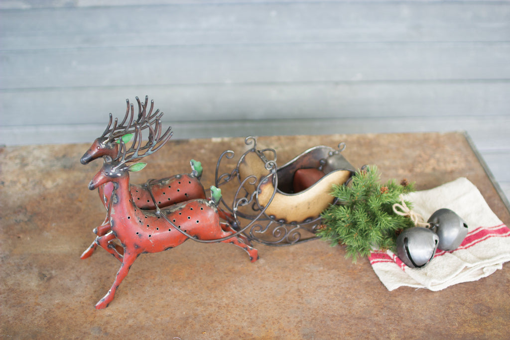 IRON REINDEER WITH SLEIGH