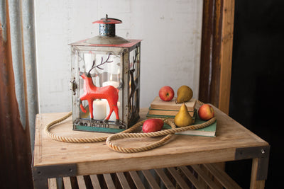 METAL LANTERN WITH DEER DETAIL