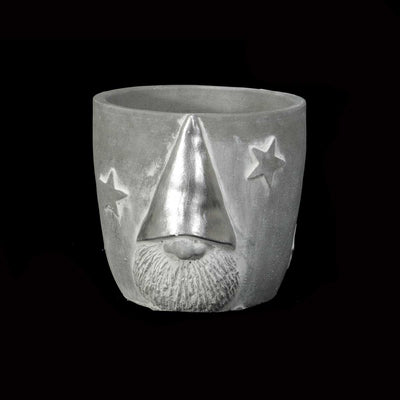 GNOME WITH SILVER HAT POT
