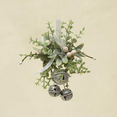 WINTER MIXED GREENS MISTLETOE & PRIVET BELL X3 ORNAMENT 5.5