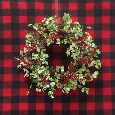 HOLIDAY MIX LEAF & BERRY WREATH WITH CONES 22
