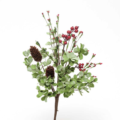 HOLIDAY MIX LEAF & BERRY BUSH WITH CONES 22