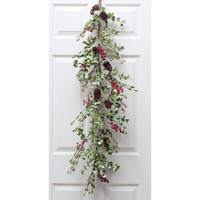HOLIDAY MIX LEAF & BERRY GARLAND WITH CONES 4'