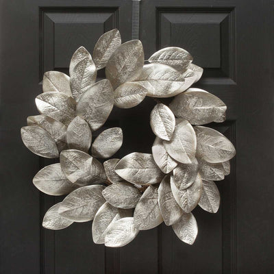 STERLING SILVER MAGNOLIA LEAF WREATH 24