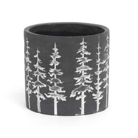 Small Dark Grey and white tree pot