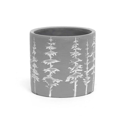 Medium light grey and white tree pot