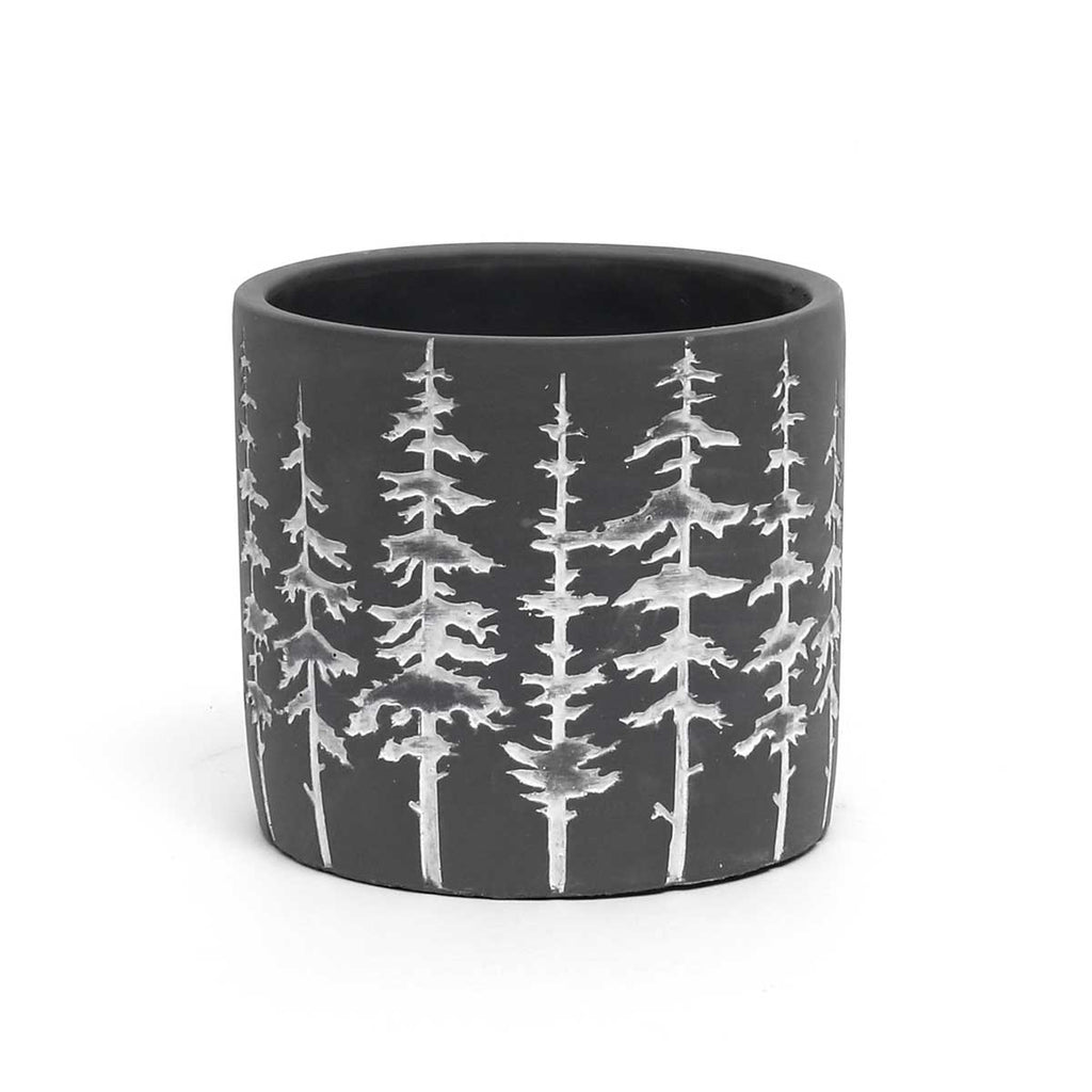 Large Dark Grey and white tree pot
