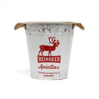 Reindeer Metal Bucket Large