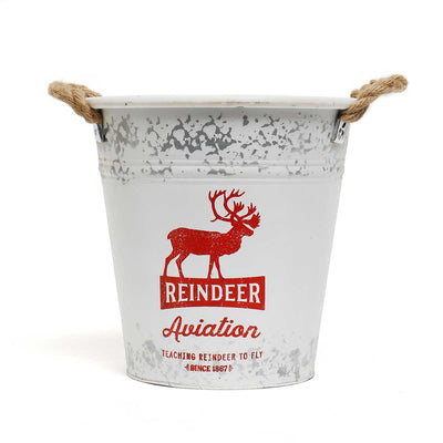 Reindeer Metal Bucket Medium