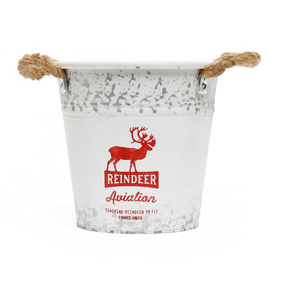 Reindeer Metal Bucket Small