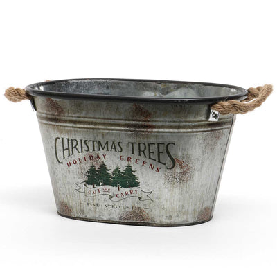 Christmas Tree Metal Bucket Large