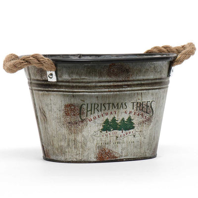 Christmas Tree Metal Bucket Small
