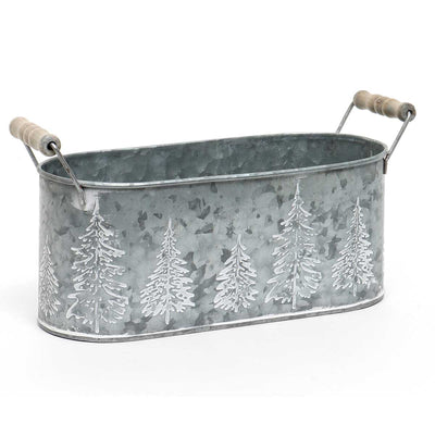 Christmas Tree Embossed Metal Bucket Large