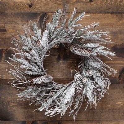 NORDIC SNOW PINE MINI WREATH 18