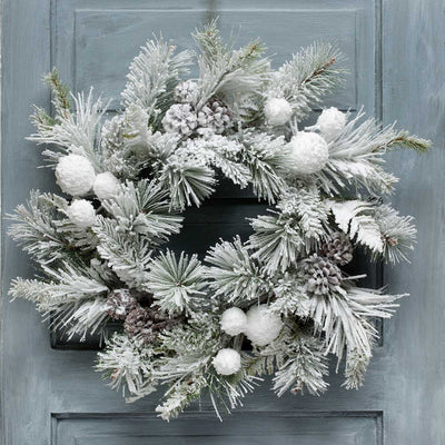 ARCTIC SNOWBALL PINE WREATH 24