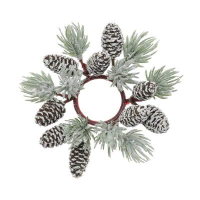 ICED PINE WITH PINECONES CANDLE RING