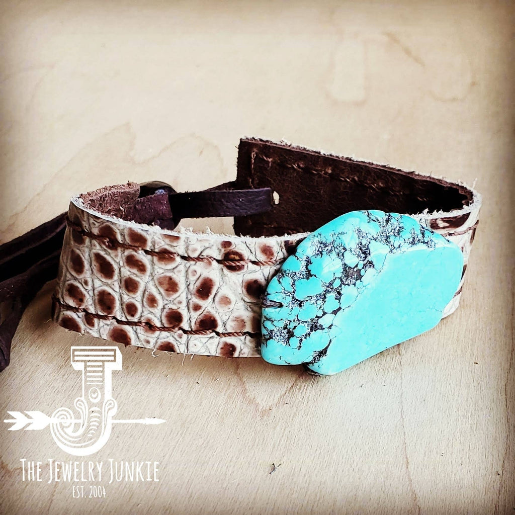The Jewelry Junkie - Narrow Leather Cuff with Turquoise Slab-Bronze Gator 002i