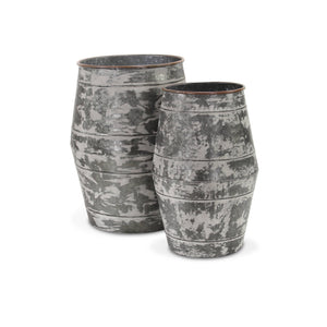 Set of 2 galvanized barrels