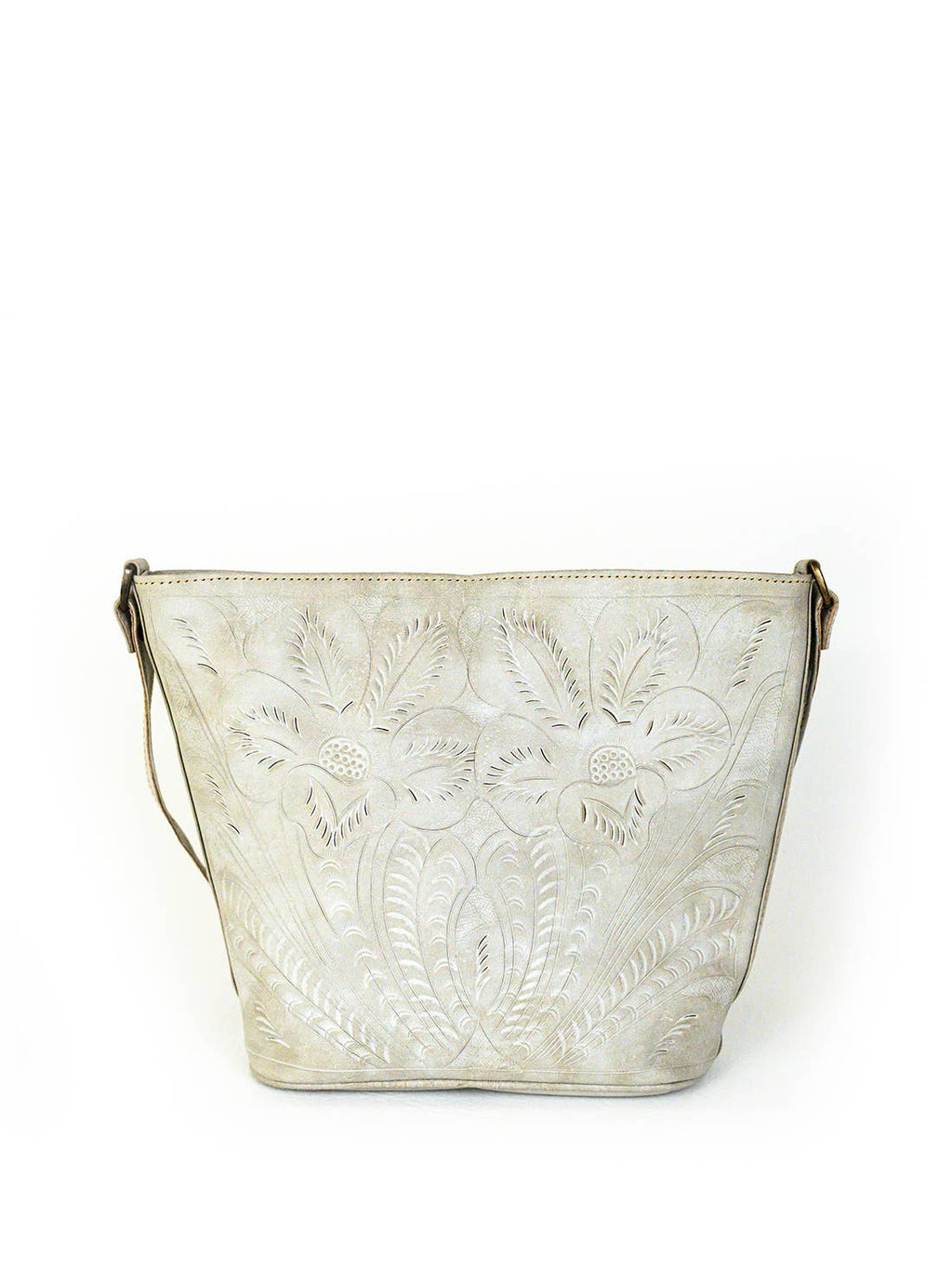 LEADERS IN LEATHER - 0032T Tooled Leather Vintage Bucket Crossbody Bag