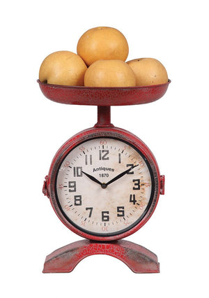 Metal 2-Sided Scale Shaped Clock, Red
