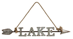 "Wall Decor ""Lake"" w/ Arrow & Rope Hanger"