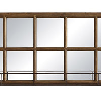 Metal Window Pane Mirror w/ Shelf