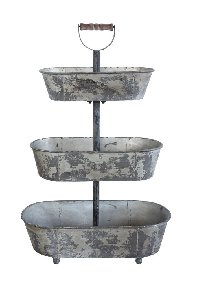 Metal 3-Tier Container w/ Wood Handle